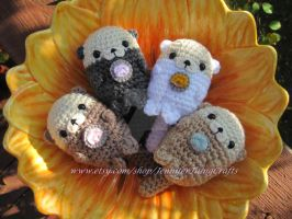 Adorable Sea Otter Family Amigurumi by PacaBearsCafe