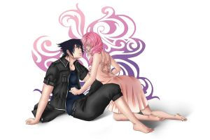 Commission: Lightning and Noctis by Miyu-Yoru