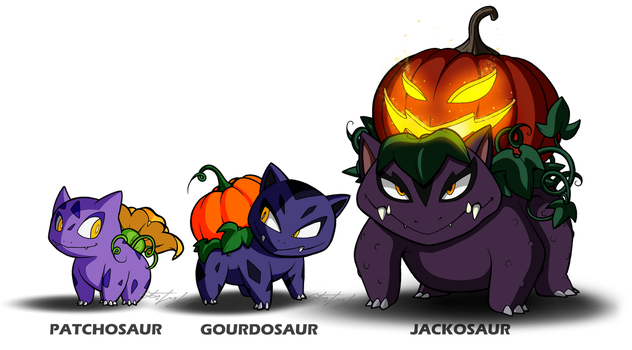 Fan Pokemon - The Pumpkin 'Saurs by MolochTDL