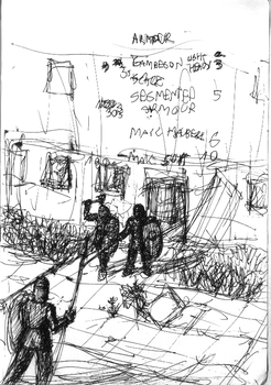 Urban Wasteland Concept Sketch - Armor by ForgottenDemigod