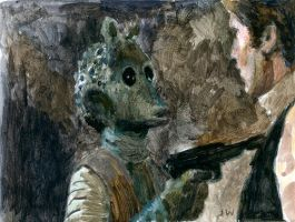 Greedo and Han Solo Star Wars Sketch Card by Stungeon