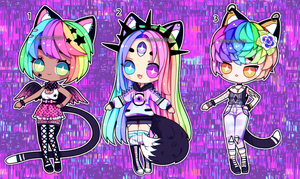 Rainbow Nekos pt 2 (closed) by Kariosa-Adopts