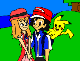 Pokemom X and Y Ash, Pikachu and Serena. by 9029561