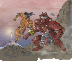 Warrior vs minotaur (colored) by electronicdave