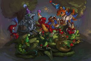 DragonVale Party hats by The-SixthLeafClover