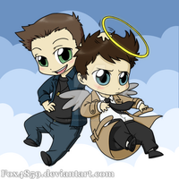 Dean+Cas chibi commission by DeanGrayson