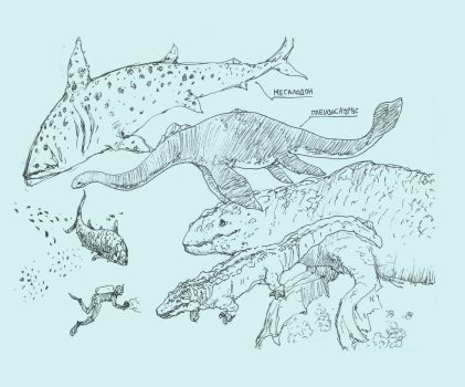 prehistoric sea monstrosities by Sentinelite