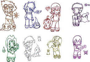 Digimon Adventure Chibis by L-mon
