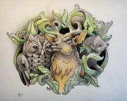 Tattoo design - Owl, Deer and Hedgehog by Xenija88
