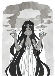 Inktober day 27: Thunder + Fertility Witch by Dalblauw