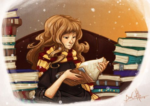 Hermione and books by nary-san