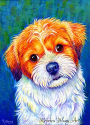 Colorful Pet Portrait - Odie by rebeccawangart