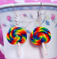 Rainbow Lollipop Earrings by Cuddlebugeeshi