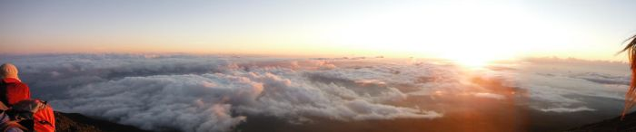 Sunrise sea of clouds beneath Mt. Fuji's top by ElectrikPinkPirate