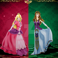Zelda and Peach by loonymoonylupin