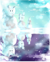 Sonic, Tails, and Chao the Snowmen by verocayden
