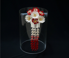 Elegant Red and White Blossoms with Bira Kanzashi by japanesesilkflowers