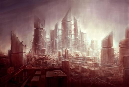 scifi city by yonaz