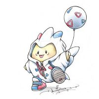 Togepi in a Togekiss onsie by ItsBirdyArt