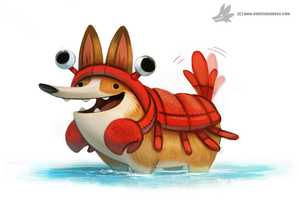 Daily Painting #915 - Corgi Lobster by Cryptid-Creations