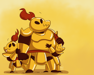 Goldarmor Family by pickles-4-nickles