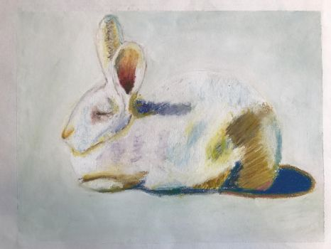 rabbit drawing by Wayne Thiebaud by Scott-A-T-art