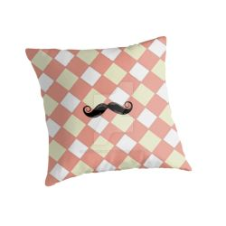 Checked and Mustache Throw Pillow by PhotoshopGirl29