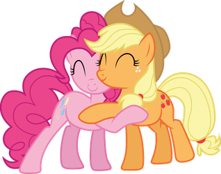 Applejack and Pinkie Pie hug by CloudyGlow