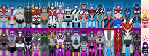 Transformers family of Prime's and Mega's by SisArty87