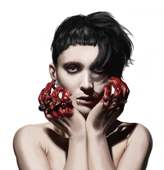 Girl with the Dragon Tattoo Fan Painting by Frozelz