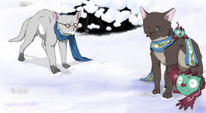 Blue Exorcist Cats: Shiro and Yuri by nightwindwolf95