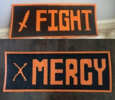 FIGHT and MERCY Button Perlers by MrsEveTwo