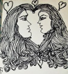 INKTOBER #20 ~ TWO HEARTS = ONE LOVE by MystMoonstruck