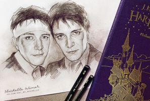 Fred and George Weasley sketch by Michelle-Winer