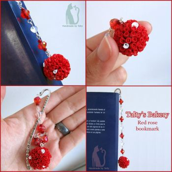 Clay red rose bookmark by Talty
