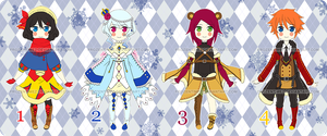 Adoptables Set 5 [CLOSED] by FrozenTimez