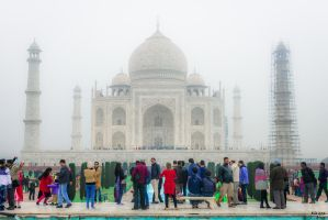 Incredible India - people at Taj Mahal by Rikitza
