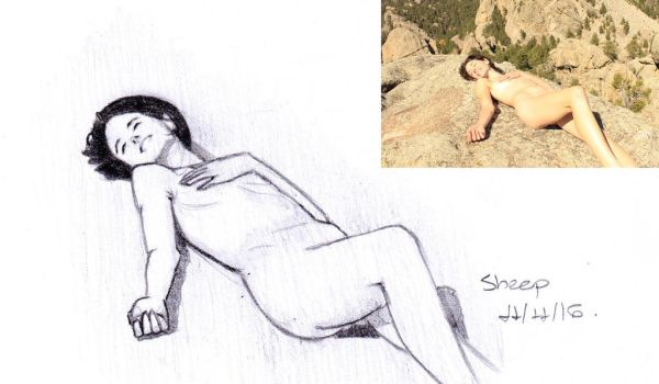 Reddit gets drawn: Laying naked on a mountain top by SheepovaArt