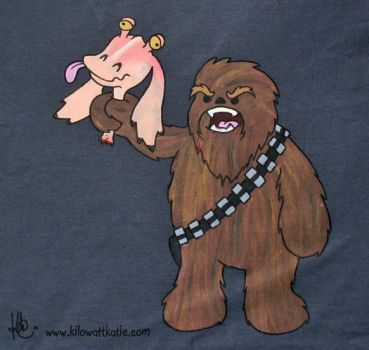 Chewie v Jar Jar - hand painted t-shirt by KilowattKatie