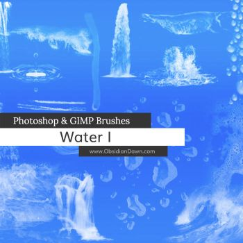 Water Photoshop and GIMP Brushes by redheadstock