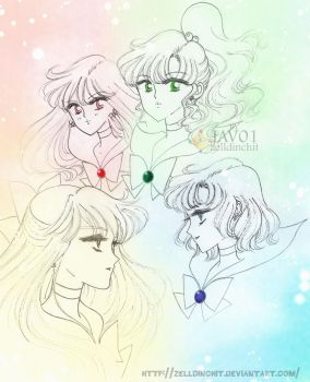 sailor moon - inner senshi by zelldinchit