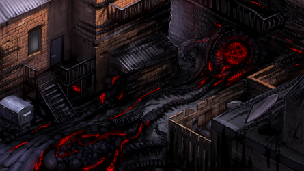 2D survival horror game mockup - corrupted alley by Pyroxene