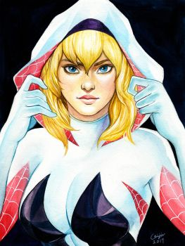 Spider Gwen in Watercolors by WeijiC