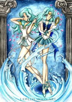 Cosmic Neptun and Sailor Neptun by JanneLawless