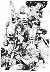 Domino Deadpool and Cable by Leomatos2014