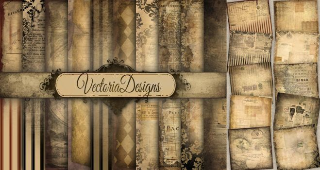 Shabby Chic Ephemera Papers by VectoriaDesigns