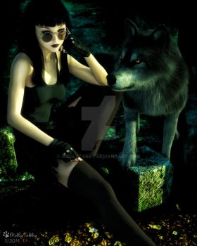 Salem and her Wolf by MollyTabby