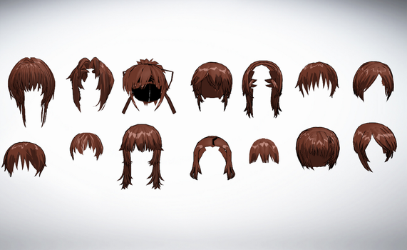 MMD Front hair pack 03 43-56 of 50+ by amiamy111