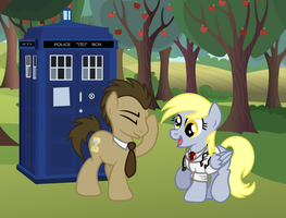 Doctor Whooves and Derpy Hooves by Gray-Gold