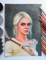 Ciri The Witcher 3 drawing by Bajan-Art